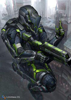 RMD 1438 by amirul hhf on ArtStation. Cyberpunk Character, Cyberpunk Art, Character Concept, Character Art, Character Design, Armor Concept, Weapon Concept Art, Laser Tag, Futuristic Armour