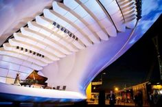 Soundforms is an acoustic shell developed to provide natural acoustic reinforcement for external ensemble performance. The prototype soundforms shell. Green Design, Eco Design, Fabric Structure, Shade Structure, Portable Stage, Membrane Structure, Outdoor Stage, Indoor Outdoor, Tensile Structures