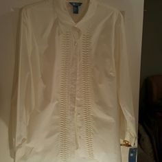 NWTS Cream blouse button front with pretty pleats Plus size 24 country cream is the color name. 60 cotton 40 poly. Crisp yet soft Koret Tops Button Down Shirts
