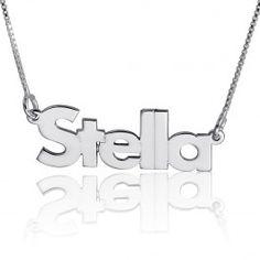 4a3113ba676a6 14K White Gold Blocky Print Name Necklace