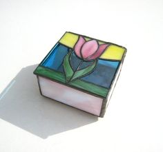 Pink Tulip HandCrafted Stained Glass Jewelry by KristaStainedGlass, $60.00