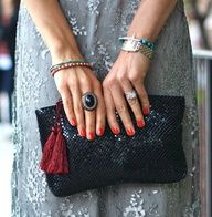 What more can a women dream of? Nice nails, black vintage ring and the champion glittering black bag http://www.evening-bags.com/