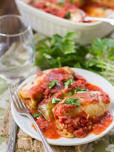 These stuffed vegan cabbage rolls are made with tender leaves of steamed cabbage wrapped around a savory, smoky mixture of quinoa and lentils, baked up in tomato sauce until piping hot. Low Fat Vegan Recipes, Low Calorie Vegan, Dairy Free Recipes, Vegetarian Recipes, Healthy Recipes, Vegan Vegetarian, Gluten Free, Vegan Meals, Whole Foods