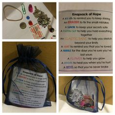 """Knapsack of Hope"" - can use any small pouch, ziplock bag, box, etc. - a meaningful gift for someone going through a tough time, who's moving away, or just as a nice gesture."