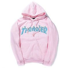 Men/Women sportswear Thrasher hoodie flame skateboard dead fly west hip-hop harajuku hooded fleece Thrasher THRASHER sweatshirt Pink