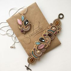 Soutache necklace, pink and brown colors Soutache Bracelet, Soutache Jewelry, Beaded Jewelry, Handmade Jewelry, Bead Embroidery Jewelry, Textile Jewelry, Gold Bridal Earrings, Bridal Jewelry, Denim Earrings