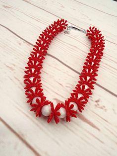 Vintage Flower Necklace Red Necklace Plastic Flower