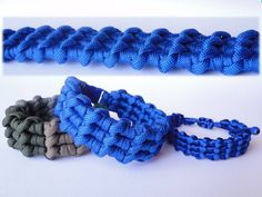 "How to Make the ""Ocean Waves"" Paracord Survival Bracelet / Bonus Tutorial-Macrame Version Kumihimo Bracelet, Paracord Bracelets, Survival Bracelets, Knot Bracelets, Bangles, Paracord Tutorial, Bracelet Tutorial, Paracord Braids, Make Your Own Bracelet"