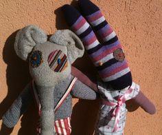 Guglielmo e Sofia: pupazzi fatti con calzini e pezzi di vecchie stoffe