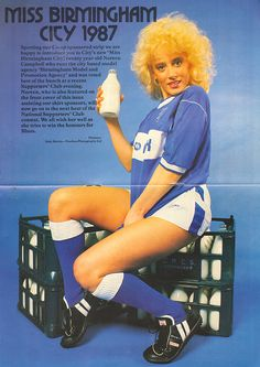 Football Nostalgia Disgrace Shock: How 'birds' were used to sell milk, cars and goalie gloves Football Design, Football Kits, Football Jerseys, Football Cards, Team Shirts, Soccer Shirts, Birmingham City Fc, Goalie Gloves, Goalkeeper Shirts