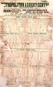 Metropolitan & Great Central Railways timetable, by unknown artist, 1909