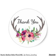 Rustic Antlers Boho Floral Allure Classic Round Sticker - A rustic boho style thank you sticker with deer antlers embellished with a watercolor floral bouquet in shades of purple, magenta and pink. Sold at DancingPelican on Zazzle.