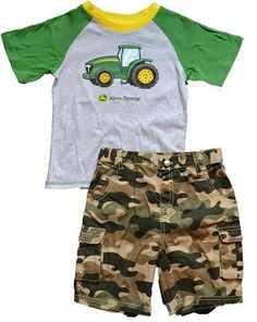 John Deere Toddler Tractor T-shirt and Camo Shorts Set John Deere Kids, John Deere Baby, Baby Boy Outfits, Kids Outfits, Camo Shorts, Lil Boy, Kids Hats, Short Outfits, Patterned Shorts