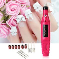 Nail Art Pen Shape Electric Nail Machine Art Salon Manicure File Polish Tool And 6 Bits File Polish Shape Tools