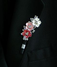 Pink Cherry Blossom Wedding Boutonniere. Grooms Brooch Boutonniere Buttonhole
