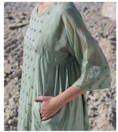The sheer opulence of handwoven Chanderi and intricate details by Their summer line on our racks now! Pakistani Bridal Dresses, Pakistani Dress Design, Indian Dresses, Stylish Dresses For Girls, Simple Dresses, Casual Dresses, Kurta Designs Women, Blouse Designs, Salwar Kurta