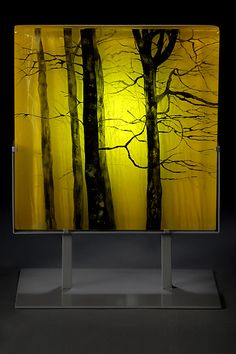 Yellow Forest by Paul Messink. This kiln-worked glass panel is hand painted, usi… Broken Glass Art, Shattered Glass, Sea Glass Art, Stained Glass Art, Fused Glass, Glass Art Pictures, Glass Art Design, Forest Art, Glass Panels