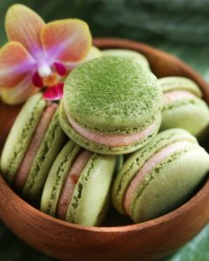 Green Tea Guava Macarons recipe | Pair these beautiful matcha macaron shells with tangy Guava Buttercream for a tropical treat!