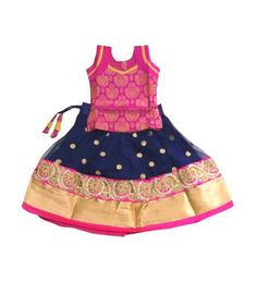 Ethnic Traditional Dress Lehenga Choli Indian Grand Designer Fancy Langa Pink and Navy Blue 6 Months - 10 Years Baby Girl Dresses Fancy, Kids Party Wear Dresses, Kids Dress Wear, Kids Gown, Baby Girls, Baby Dresses, Kids Wear, Baby Girl Dress Patterns, Baby Dress Design