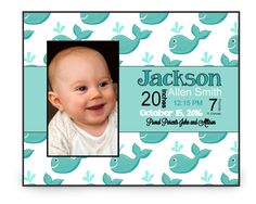 Baby Announcement Picture Frame | Personalized Baby Gift | Custom Frame | Keepsake Gift | Baby Announcement | Grandparent Gift | New Baby by TheInspiredStudio on Etsy