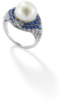 PHILLIPS : UK060111, , A natural pearl, diamond and sapphire art deco ring