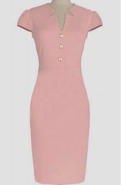 Pink V-Neck Cap Sleeve Midi Sheath Dress from Hello Styles. Saved to Dresses. Skirt Outfits, Dress Skirt, Bodycon Dress, Sheath Dress, Office Dresses For Women, Dresses For Work, Daytime Dresses, Professional Outfits, Work Attire