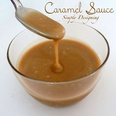 Mom's Caramel Sauce - perfect for apples, on vanilla ice cream or by the spoonful!  Perfect fall treat for dipping! | by Simply Designing #caramel #apples #caramelsauce #fall #recipe