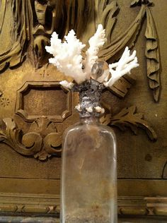 Vintage bottle with sea life sculpture by FadedFragments on Etsy, $65.00