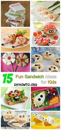 Kids will love these cute and fun sandwiches for school, party => http://www.diyhowto.org/fun-sandwich-ideas/