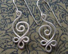 Celtic Knot Flower Silver Long Dangle by nicholasandfelice on Etsy