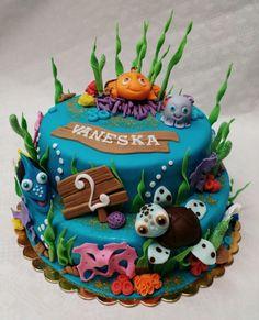 Dort Nemo Birthday Cake, Cakes, Baking, Desserts, Parties, Bread Making, Birthday Cakes, Patisserie, Backen