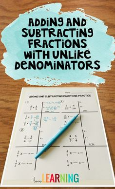 A few years ago when I first started teaching adding and subtracting fractions with unlike denominators to my fifth graders, I quickly realized that they needed some concrete step-by-step directions. They also needed a way to organize their work. I racked Teaching Fractions, Teaching Math, Teaching Ideas, Classroom Design, Classroom Organization, Classroom Management, Future Classroom, Classroom Ideas, Adding And Subtracting Fractions
