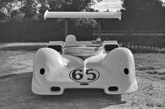 Hap Sharp's Chaparral 2E was captured nose-on in the Nassau paddock. The car is configured for high downforce, with the outer nose spoilers and a greater span wing with end plates. This was the configuration the had last raced with at Las Vegas. EDF photo.