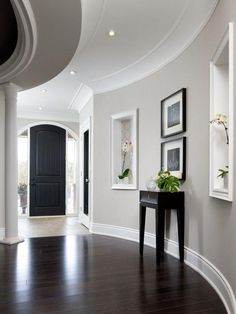 Use gray paint to create a contemporary entryway.