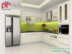 Tủ bếp Acrylic màu trắng kem thanh lịch, hiện đại PTM85