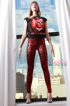 Metallic Lips Print Spandex Nylon Leggings by ElasticWonder, $65.00