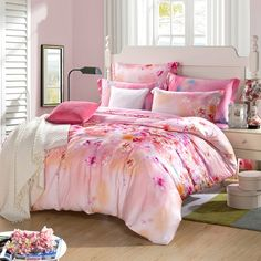 Bright Red and Pink Romantic and Elegant Country Chic Bedding Set ~ $155.99 at enjoybedding.com