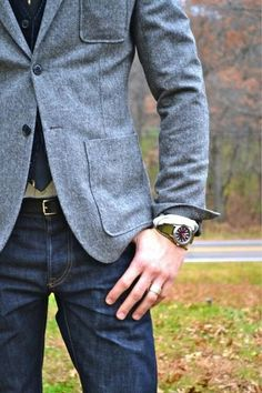 Gray blazer with jeans