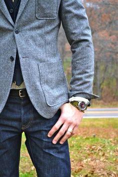 Gray blazer with jeans