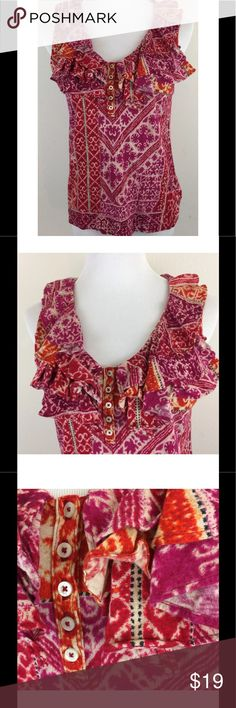 "Lauren Ralph Lauren Ruffle Top Batik Print Large Lauren Ralph Lauren Ruffle Top Batik Print Shirt Sleeveless Cotton Blouse Large  Vibrant & colorful 100% Cotton top with v-neck ruffle 1/4 button down front - stretchy & comfy Can go between work and play easily - can be dressed up or down Excellent, gently used condition - no flaws noted Approximate measurements (please check measurements to insure a proper fit): Chest 18"" across, laid flat Length 23.5"" from shoulder to hem Lauren Ralph…"