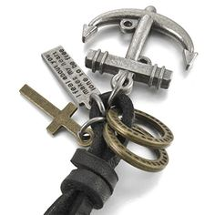 MunkiMix Legierung Echtes Leder Anhänger Halskette Silber Kreuz Anker Nautisch Jahrgang Einstellbar 16~26 Zoll Kette Herren