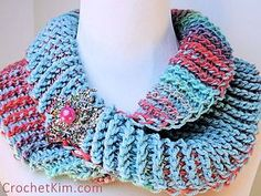 Designer Share ~ Kim Guzman ~ Crochet Dueling Colors Cowl - This fun cowl is worked in Tunisian Crochet, using a double ended hook and the beautiful Red Heart Unforgettable yarn.  With so many color choices to choose from, the possibilities are many to suit everyone's style. You can find this freebie here: https://www.ravelry.com/patterns/library/dueling-colors-cowl