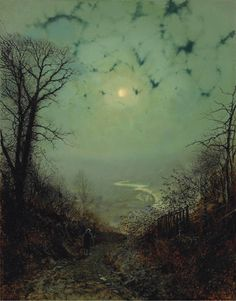 """MOON paintings by John Atkinson Grimshaw A Victorian Era British artist, born in Leeds, he invented the nocturnal painting as a genre. Whistler remarked that """"I considered myself the inventor of Nocturnes until I saw Grimmy's moonlit pictures. Pictures Of The Week, Weird Pictures, Art Pictures, Pictures Of Paintings, Atkinson Grimshaw, Paul Verlaine, Images D'art, Moonlight Painting, Moon Painting"""