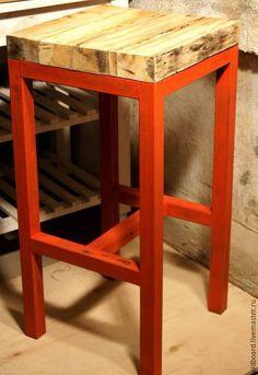 Мебель ручной работы. Ярмарка Мастеров - ручная работа. Купить Стул барный в стиле лофт.. Handmade. Ярко-красный, дерево