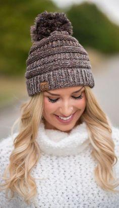 CC Knit Pom Beanie (Brown)