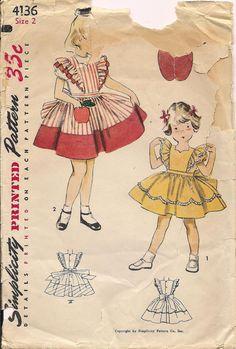 Vintage 50s Simplicity 4136 Girls Ruffled by vintagepatternstore, $5.93