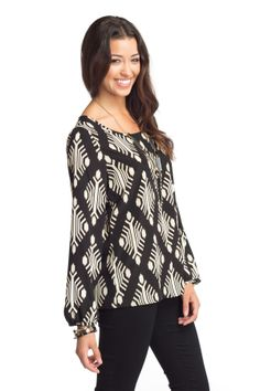 Geometric Grid Long Sleeve Top