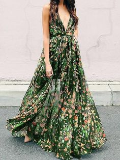 2fbcc5aa480 Green Plunge Floral Print Open Back Chic Women Cami Maxi Dress