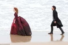 Runaway bride! Aidan was seen chasing his on-screen wife Demelza along the water's edge, locked in a heated war of words
