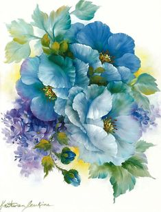 Blue flowers by Kathwren Jenkins Art Floral, Vintage Flowers, Blue Flowers, Exotic Flowers, Yellow Roses, Pink Roses, Fabric Painting, Painting & Drawing, Flower Prints